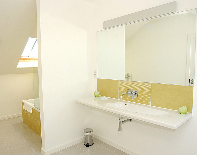 A stylish, contemporary, ensuite bathroom at Rock Pipit, a holiday house at Polzeath, Cornwall