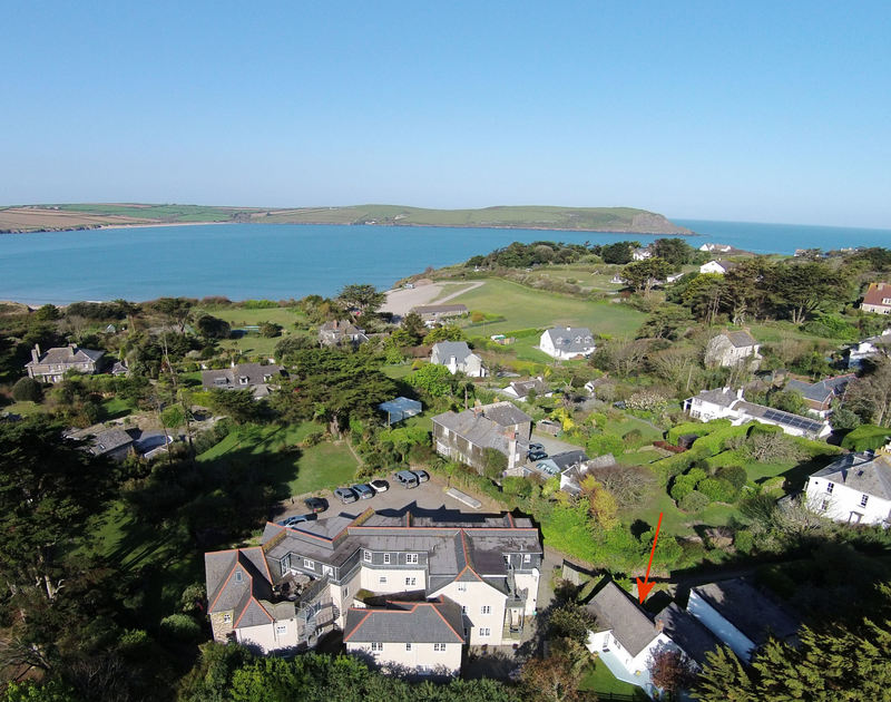 An aerial view of the ideal location of Trewella, a coastal holiday house at Daymer Bay, Cornwall