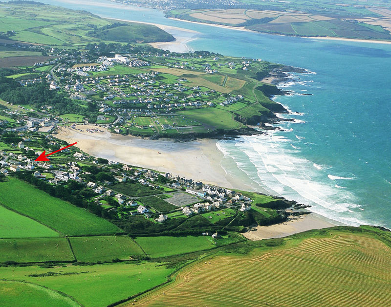 An aerial view of the stunning coastal location of Bryher, a holiday house in Polzeath, Cornwall