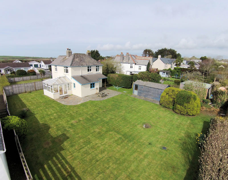 An aerial view of Trevian, a very attractive family holiday house to rent in Rock, Cornwall.