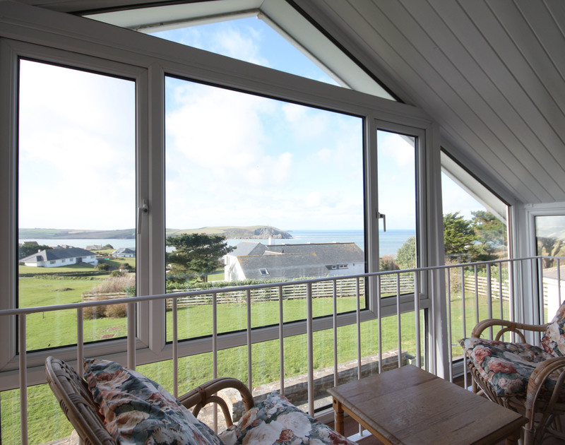 Extensive sea views from the first floor bedroom at Broadagogue, a self-catering holiday house near Daymer Bay, Cornwall