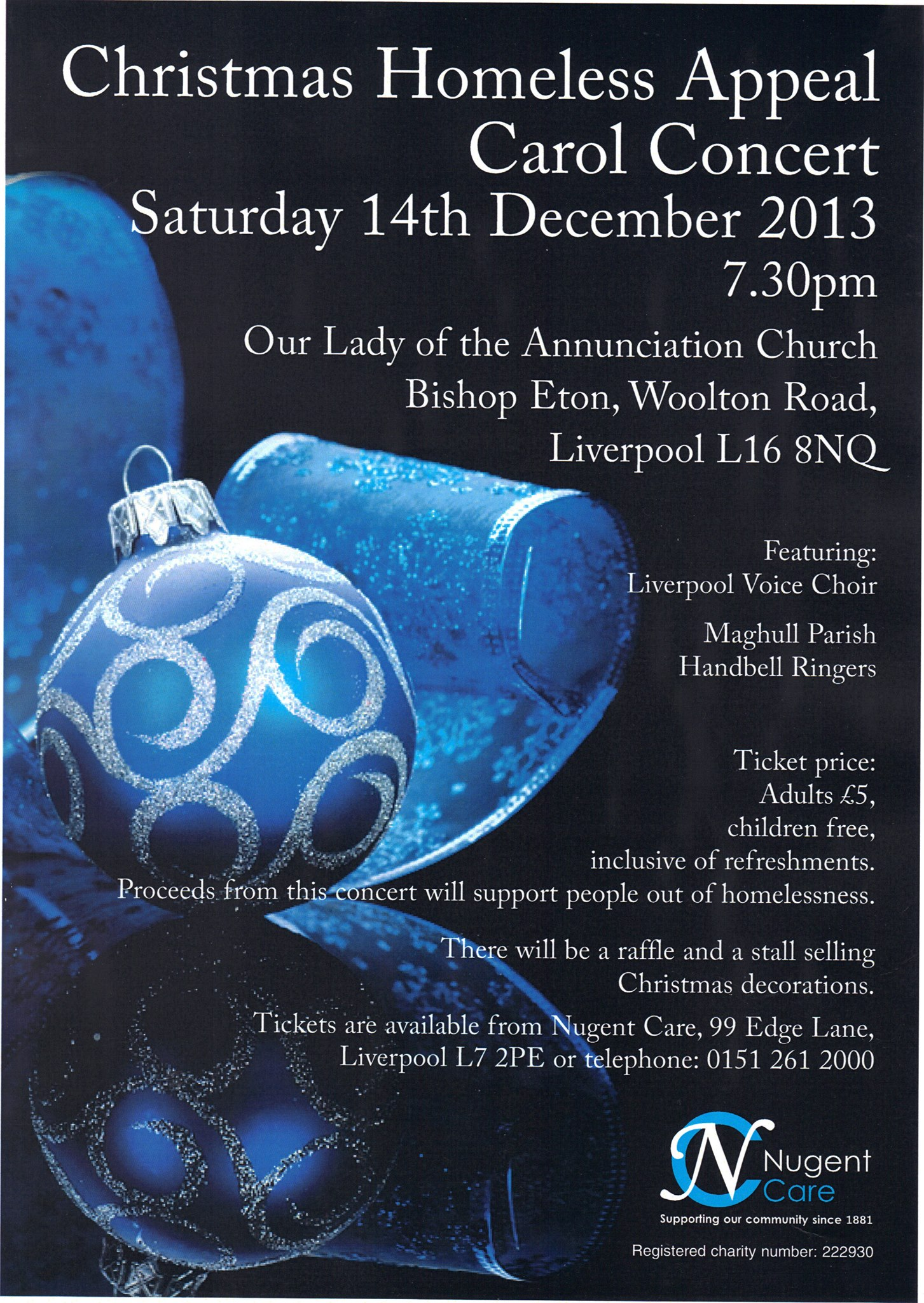 Christmas Homeless Appeal Carol Concert poster by Corinne