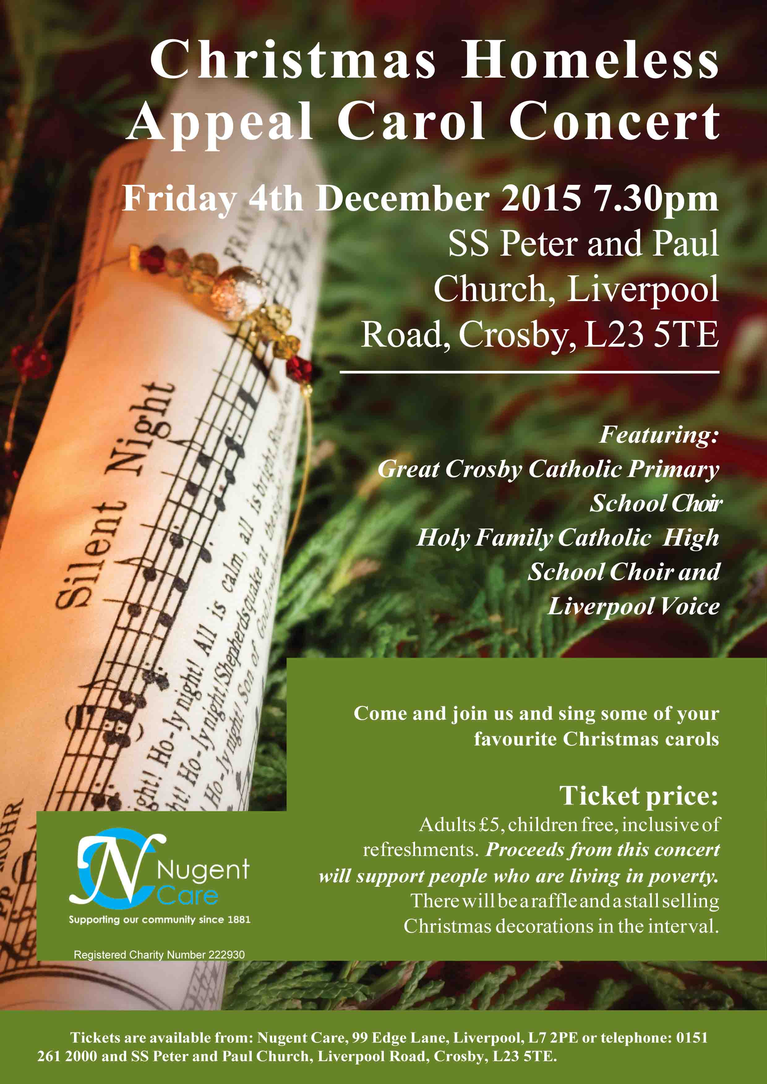 Christmas Homeless Appeal Carol Concert poster by Chris Williams