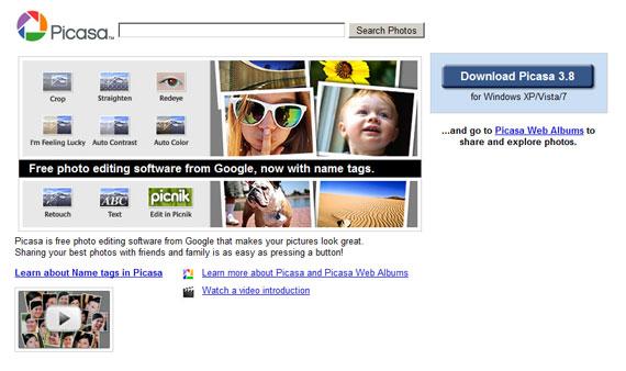 Picasa: кнопка расположена в верхней части страницы