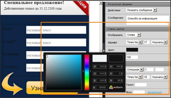 Изменение цвета текста лид-формы