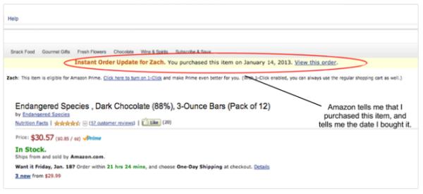 Amazon, функция позволяет не сделать ошибочно заказ повторно