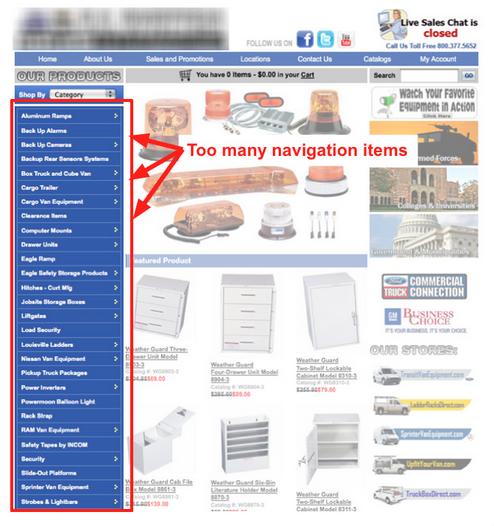 Ошибка №4: большое количество пунктов меню навигации сайта