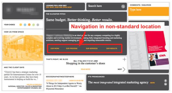 Ошибка №1: нестандартный стиль навигации сайта