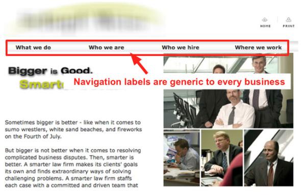 Ошибка №2: универсальные надписи пунктов меню навигации сайта