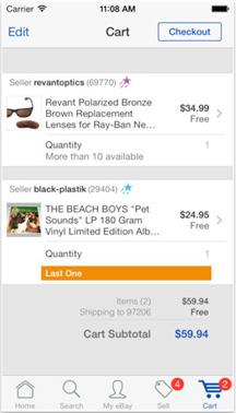 eBay: простая корзина с основной информацией