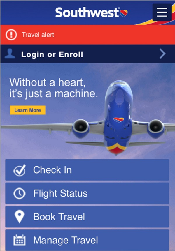 мобильную версию Southwest Airlines