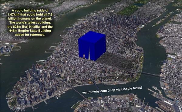 в одном здании кубической формы