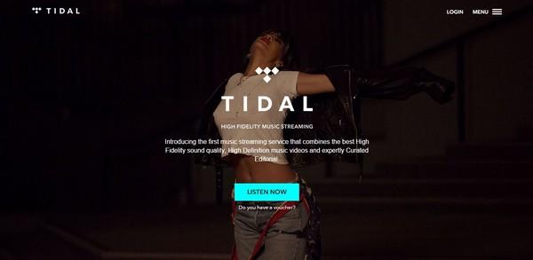 домашняя страница Tidal