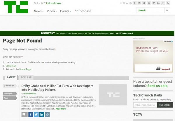 Страница ошибки 404 от TechCrunch