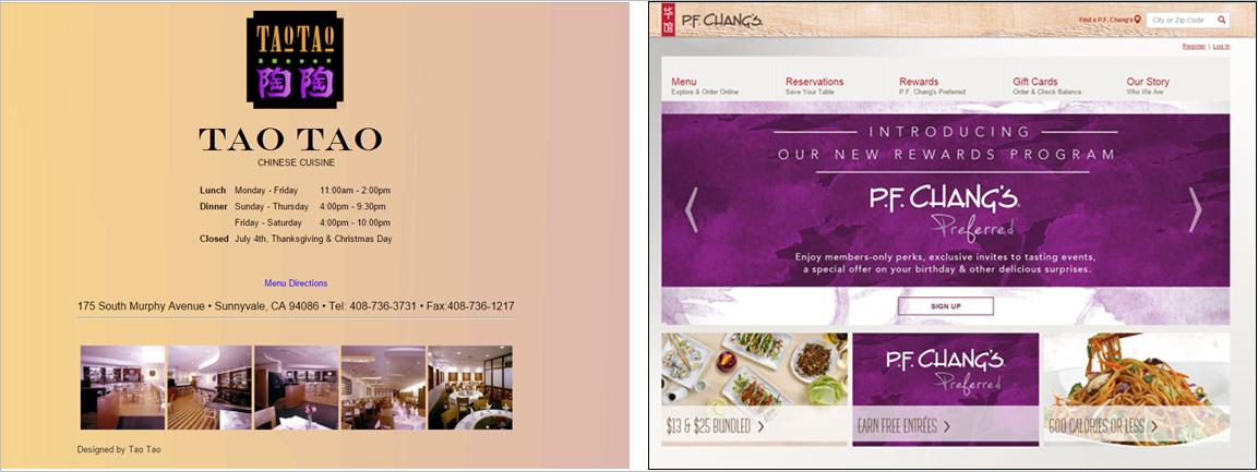 скриншоты сайтов двух разных китайских ресторанов