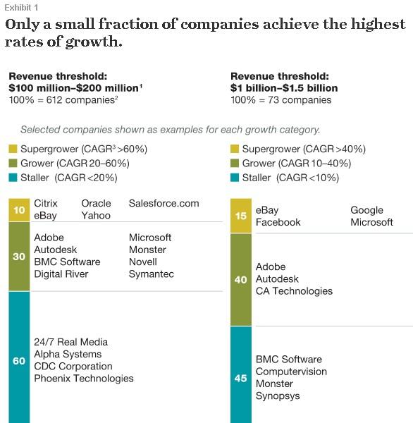 Лишь небольшая доля компаний достигает высоких темпов роста.