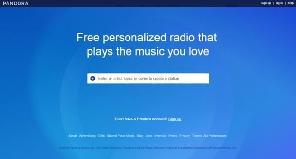 Целевая страница Pandora предлагает получить доступ к «музыке, которую вы любите»