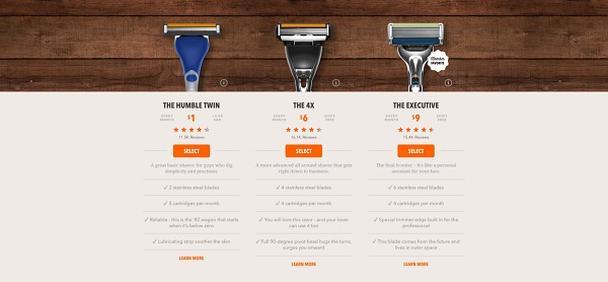 Страница с ценами Dollar Shave Club напоминает SaaS-продукт