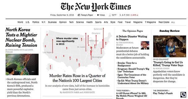 Статистическая графика на главной странице сайта New York Times 9 сентября 2016 г.