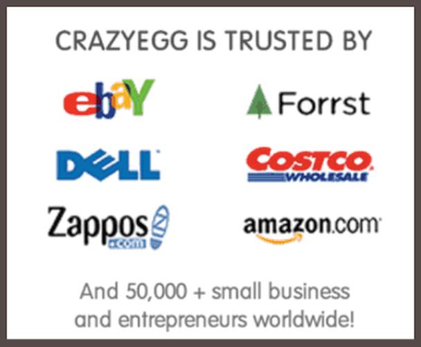 CrazyEgg доверяют «перечисленные бренды» и 50000+ компаний малого бизнеса и предпринимателей по всему миру