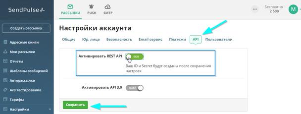 Далее перейдите в раздел API и активируйте REST API