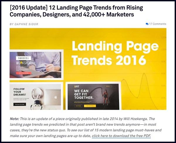 [Обновление 2016] 12 Landing Page трендов от быстрорастущих компаний, веб-дизайнеров и более 42 000 маркетологов