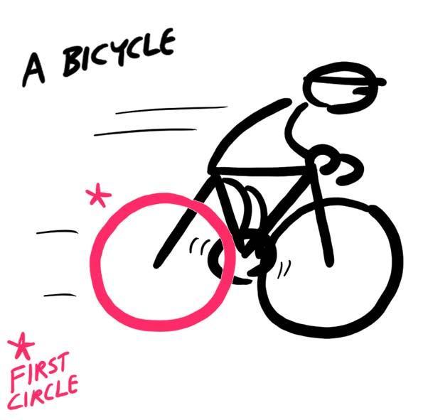 Два больших круга, два маленьких и один треугольник превращаются в велосипед