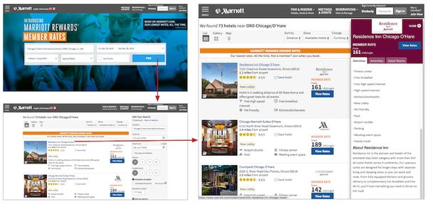 Страница бронирования на веб-сайте Marriott Hotels