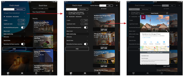Тот же опыт с бронированием Marriott Hotels на версии для планшета имеет другой вид и создает иное ощущение, чем десктопный сайт
