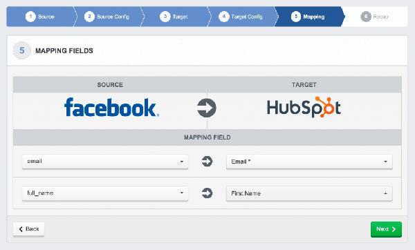 AdEspresso настраивается автоматическое добавление новых контактов из Facebook в HubSpot для последующей работы с лидами