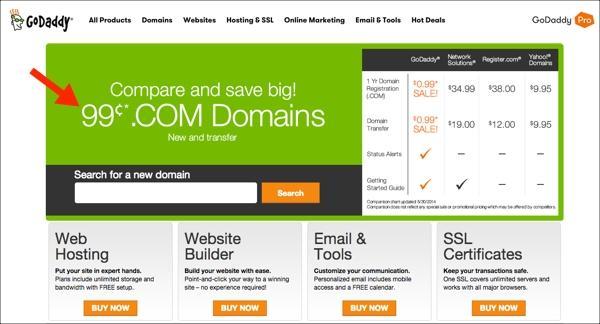 Крупнейший в мире регистратор доменных имён GoDaddy предлагает свои услуги всего за 99 центов