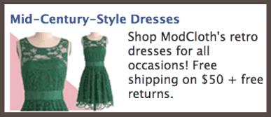 Рекламное объявление ModCloth с упоминанием бесплатной доставки и возврата покупки при превышении суммой чека $50