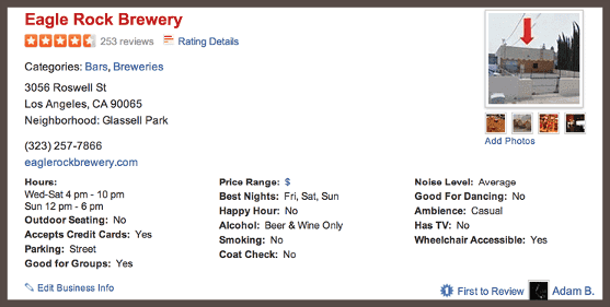 Страница Eagle Rock Brewery на сайте Yelp