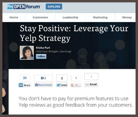 Заголовок статьи, написанной Ритикой о Eagle Rock: «Оставайтесь позитивным: задействуйте Yelp в вашей стратегии»