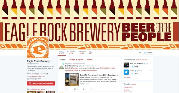 Аккаунт Eagle Rock Brewery в сети микроблогов Twitter