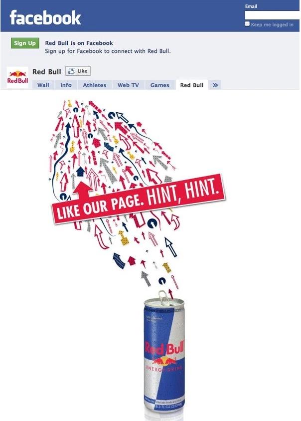 страница Red Bull в Фейсбуке