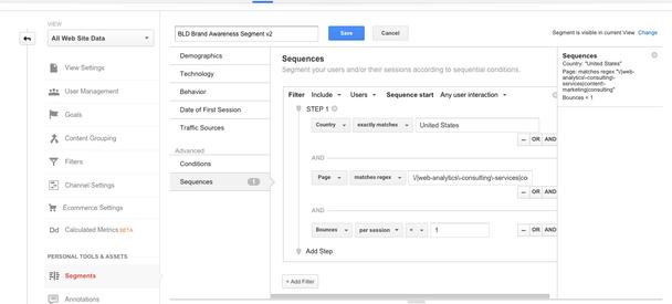 пример построения сегмента в Google Analytics