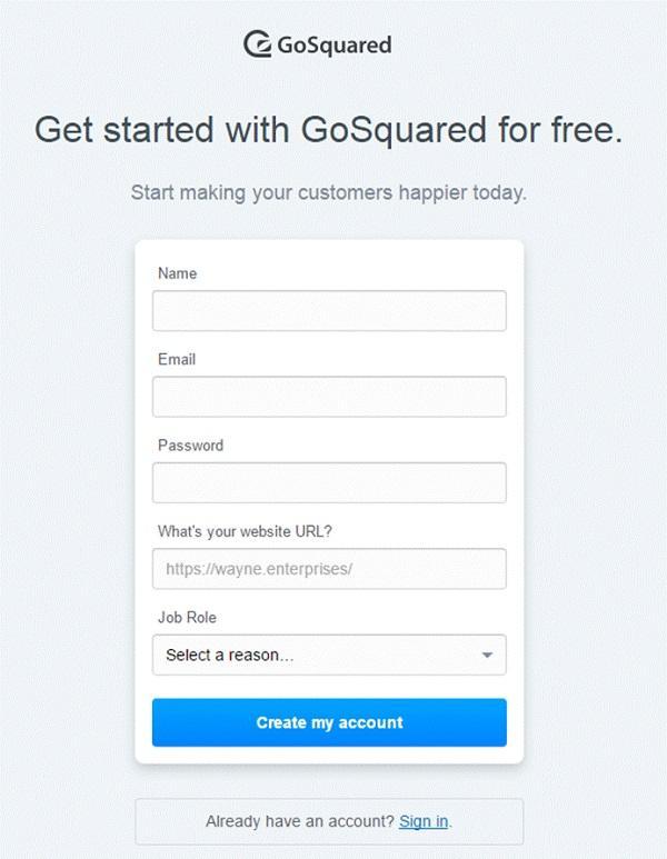 Форма регистрации на сайте компании GoSquared