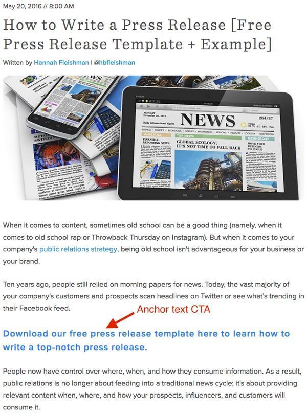 Примерного анкорного CTA: «Скачайте наш бесплатный шаблон пресс-релиза здесь, чтобы научиться писать превосходные пресс-релизы»