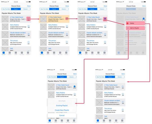 Этот простой поток схем показывает последовательность из нескольких «каркасов» интерфейса мобильного приложения для типичного процесса решения пользовательской задачи
