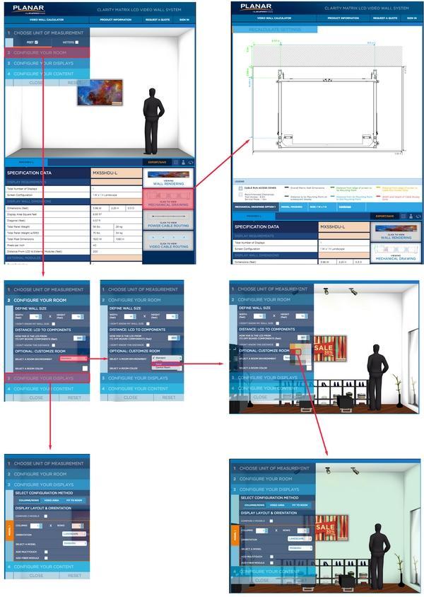 Упрощенный поток задач веб-приложения для десктопа демонстрирует, что не все части проектируемого интерфейса должны отображаться на каждом этапе процесса