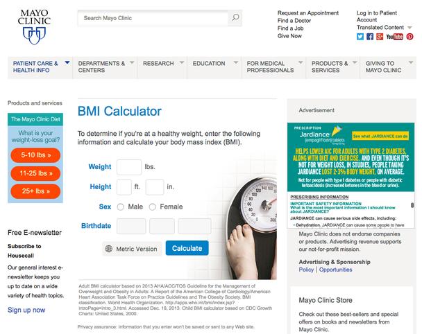 Клиника Mayo разработала бесплатный калькулятор массы тела