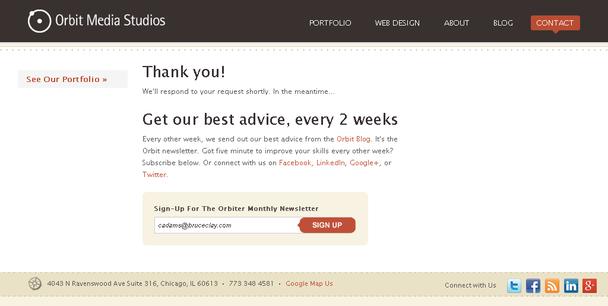 «Спасибо! Получайте наши лучшие советы каждые две недели!»