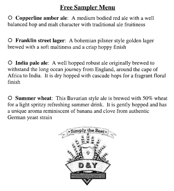 Меню с описанием 4-х видов пива, принявших участие в исследовании