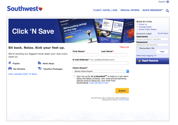 Пример от Southwest Airlines