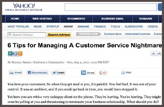 Статья «6 подсказок» после двойной синдикации охватывает максимально широкую аудиторию, предоставленную платформой Yahoo Small Business