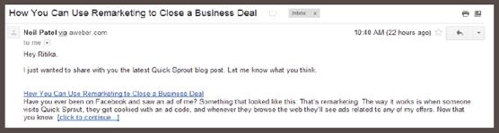 Письмо со ссылкой для перехода в блог и чтения статьи «Как использовать ремаркетинг для закрытия сделки»