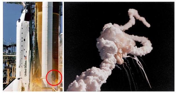 Шаттл до и после катастрофы (слева — первые видимые признаки опасности, справа — фотография сразу после крушения)