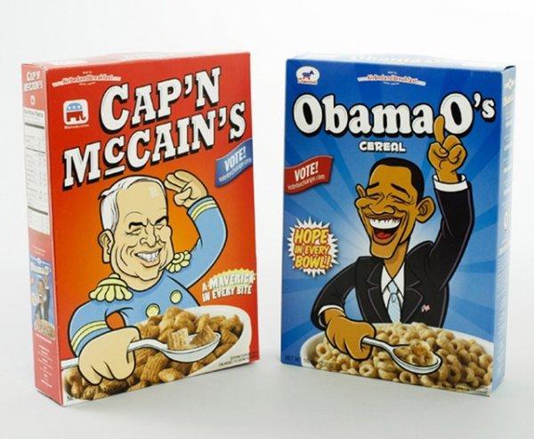 хлопья с двумя названиями Cap'n McCain's и Obama O's