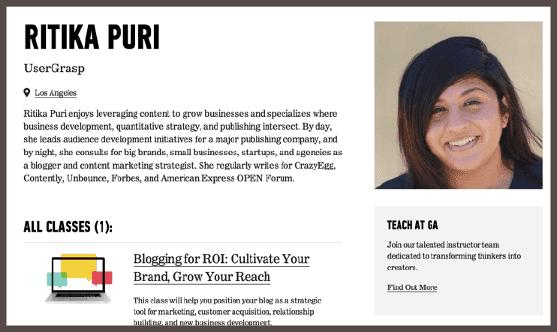 Ритика проводит занятия на тему «Ведение блога как средство улучшения ROI компании»